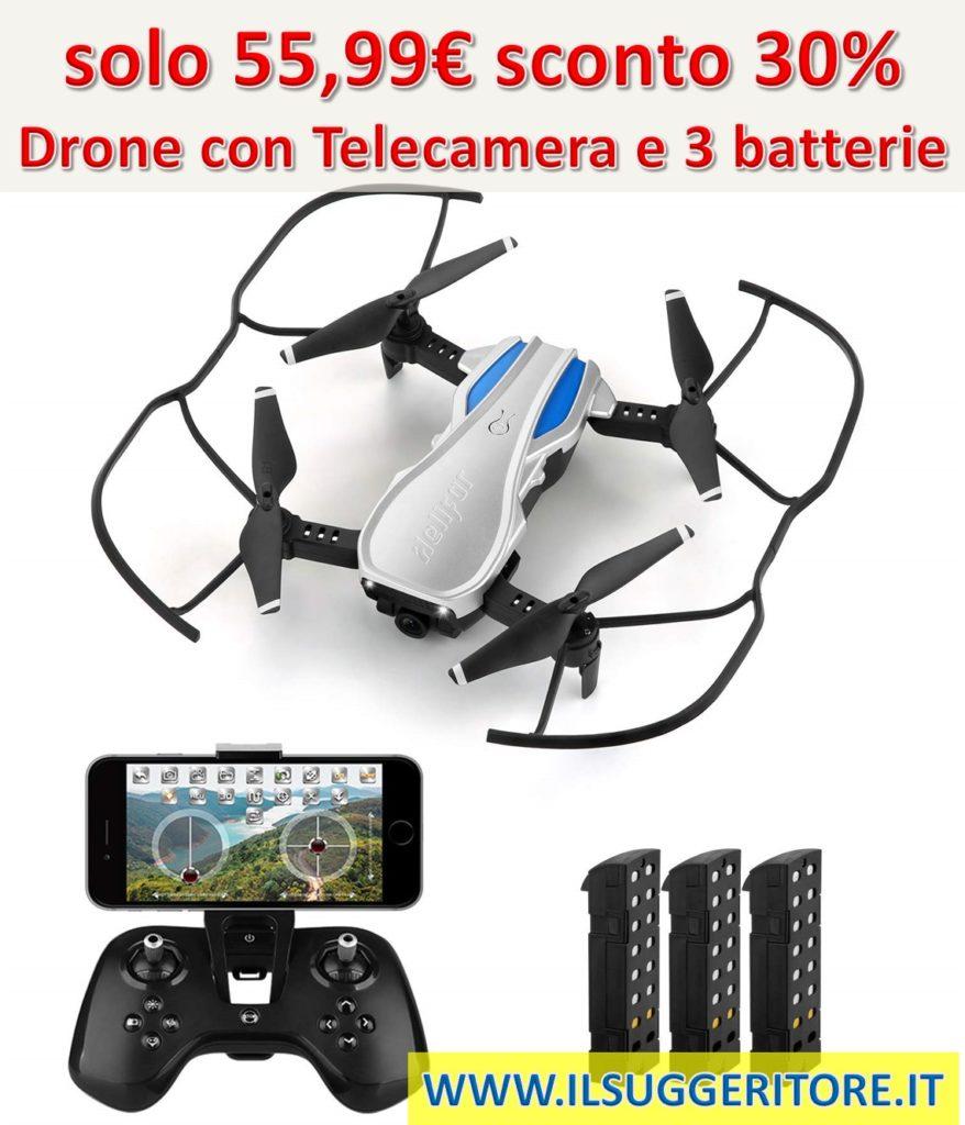 HELIFAR  H1 Drone con Telecamera Regolabile, Mini Drone Pieghevole con WiFi FPV  HD 720P App, Tempo di Volo più Lungo Sistema di Stabilizzazione con 3  batterie