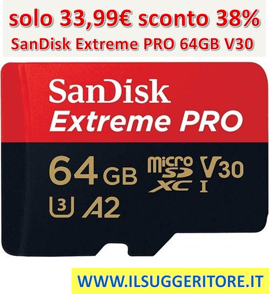SanDisk Extreme PRO 64GB, MicroSDXC Classe 10, U3, V30, A1, Velocità di Lettura fino a 100MB/s