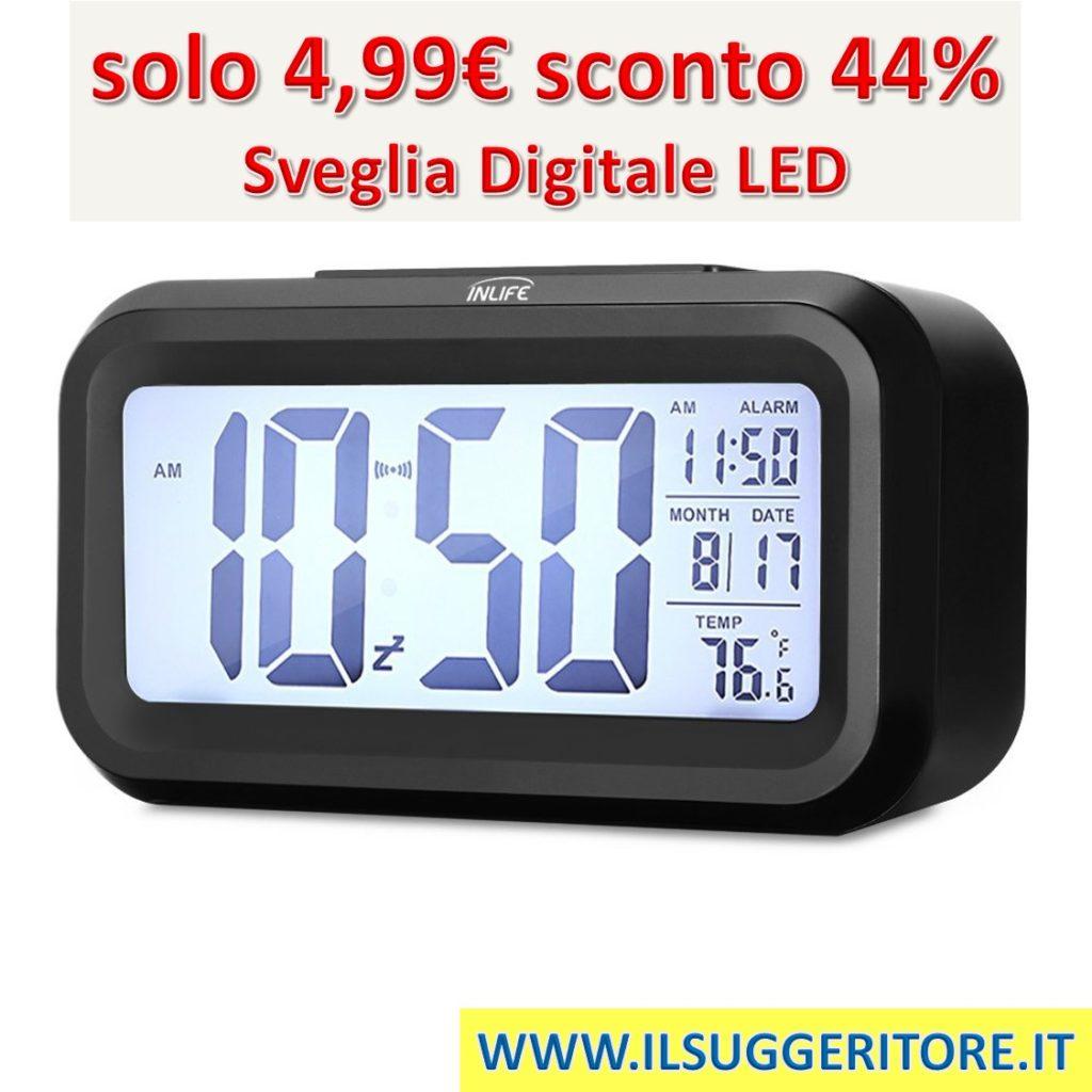 InLife  Sveglia Digitale LED Retroilluminazione Orologio da Comodino Snooze  Luminosità Dimmerabile Regolabile Mese Giorno Temperatura