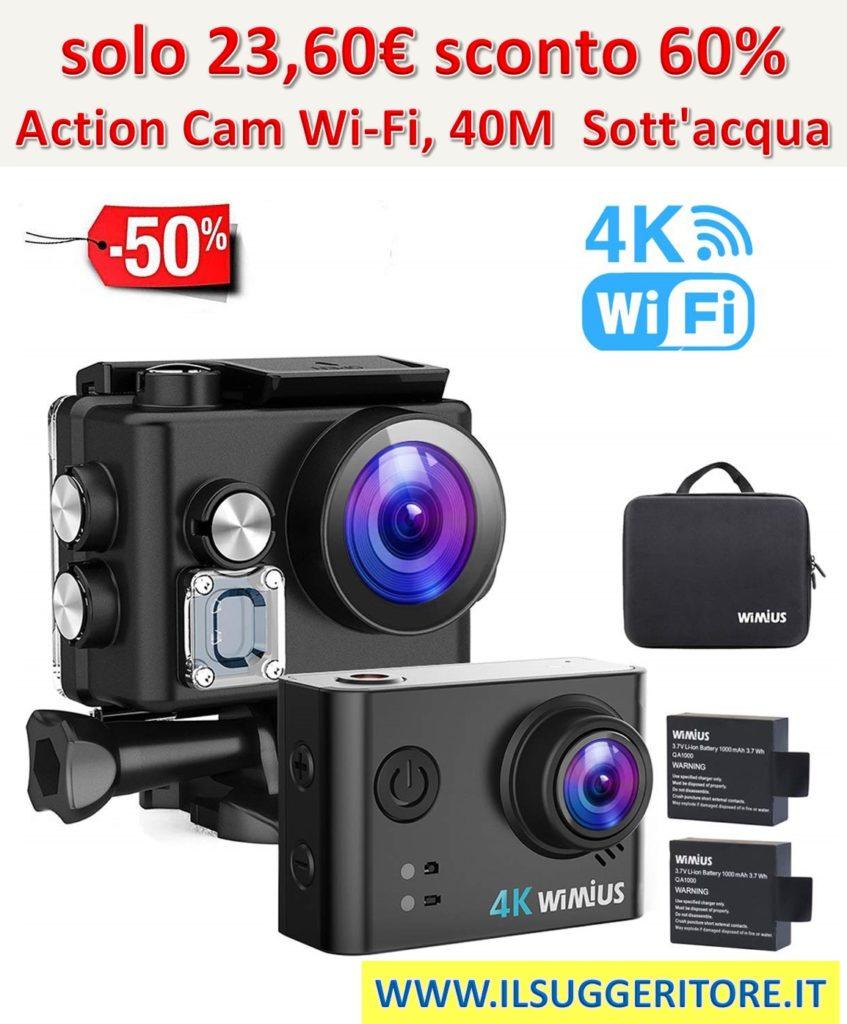 Wimius 4K Action Cam Wi-Fi 40M Immersione Sott'acqua Camera