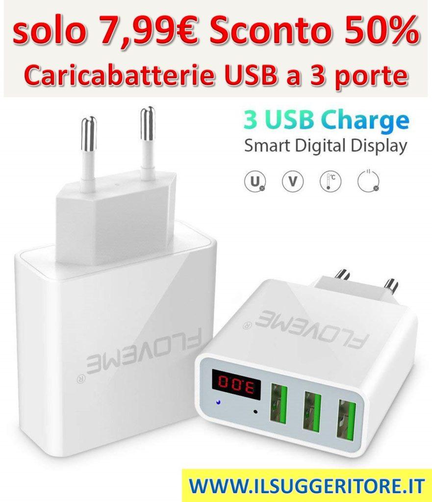 Monitoraggio rapido in tempo reale USB a 3 porte Caricabatterie da parete per corrente e tensione, Adattatore per caricabatterie da viaggio, Standard europei