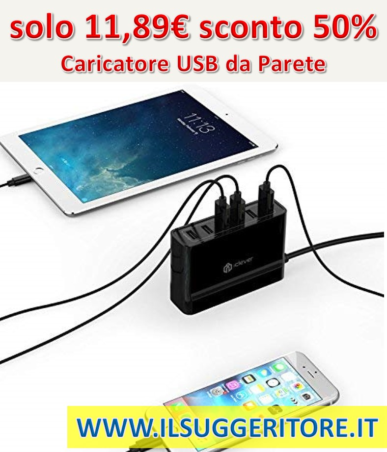 Tacklife DM01M, BoostCube - Caricatore USB da Parete, 60 W, 6 Porte, 12 A, Tecnologia SmartID, per iPhone X / 8/7 / 7 Plus / 6S / 6 Plus, iPad PRO Air/Mini, Samsung Galaxy, HTC e Altri cellulari