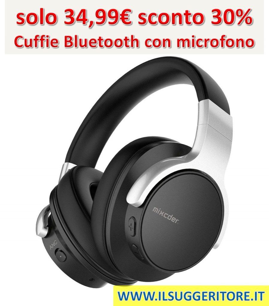 Cuffie Mixcder E7 attiva, soppressione del rumore, Bluetooth, cuffie con microfono, Hi-Fi stereo Headset Deep Bass, wireless cuffie over Ear, comodi cuscinetti auricolari per PC/cellulari/TV – nero