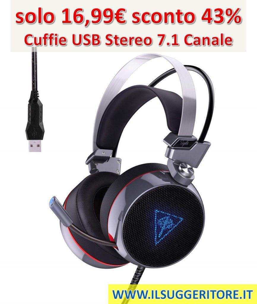 AUKEY, Cuffie Gaming Headset, Cuffie USB Stereo 7.1 Canale Virtuale, Cuffie da Gioco con Microfono a Cancellazione Rumore, Morbido Cuscino e Volume Controllo per PC