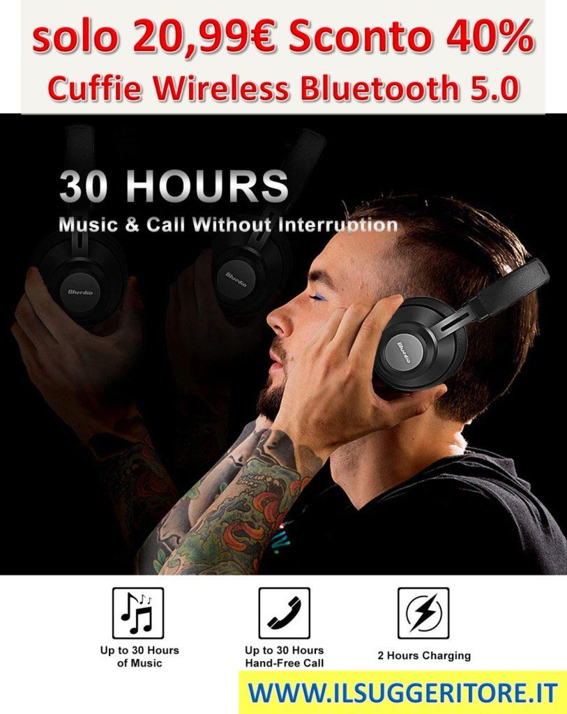 Cuffie Wireless Bluetooth 5.0, YINSAN Auricolari Bluetooth Over-Ear Stereo per Musica e Chiamata, Headphones Senza Fili Con Microfono per iPhone/iPad/Samsung/Sony/Huawei e PC/TV -2019 Versione (Nero)