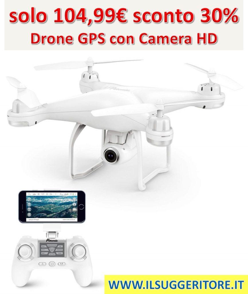 Potensic, Drone GPS Telecamera 1080P, Drone Professionale T25 Dual GPS, con Grandangolare Regolabile, Camera HD, WiFi, FPV, Quadricottero Funzione Seguimi