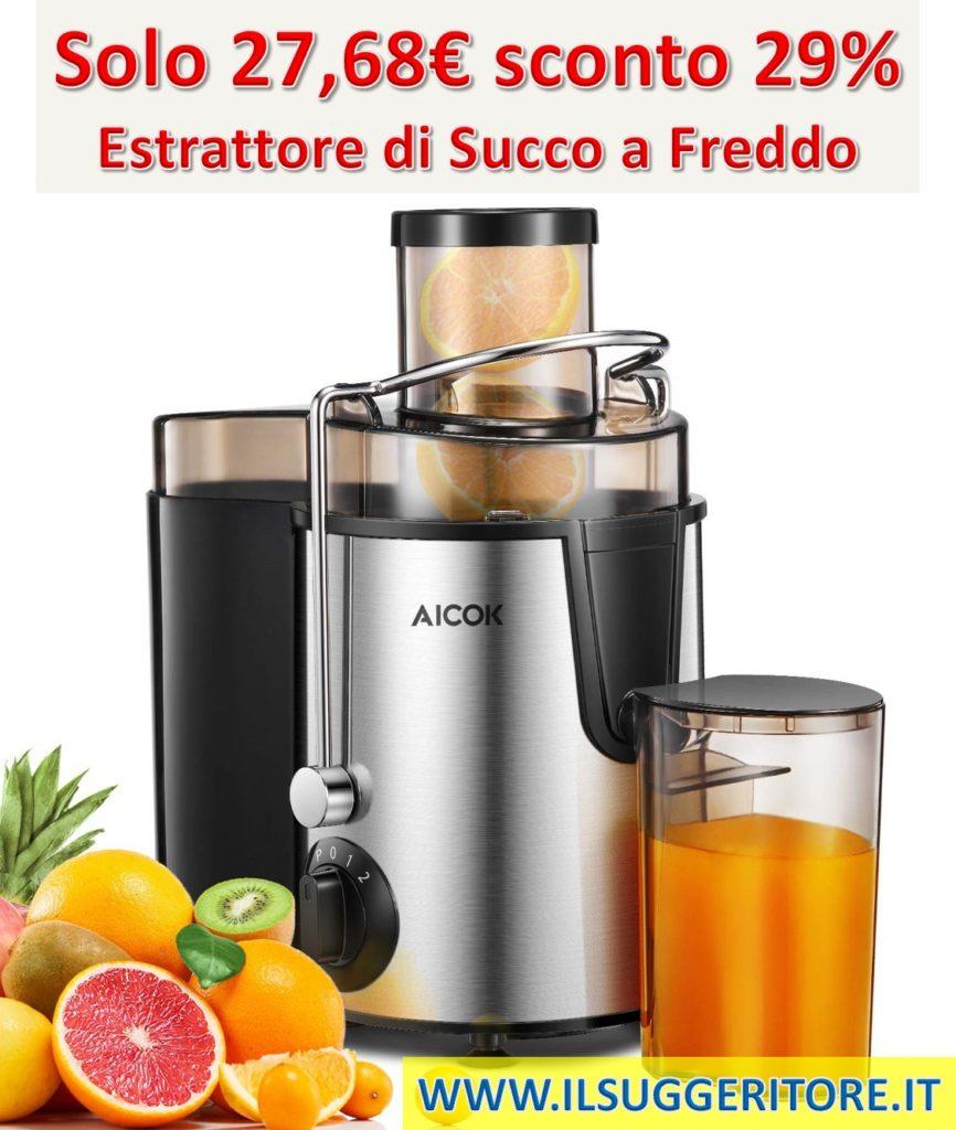 Centrifuga Aicok, Estrattore di Succo a Freddo con 65MM, Bocca Larga e 2 Contenitori, Acciaio Inossidabile a Usi Alimentari Senza BPA, Funzione Anti-Intasamenti, Spazzola per Facile Pulizia