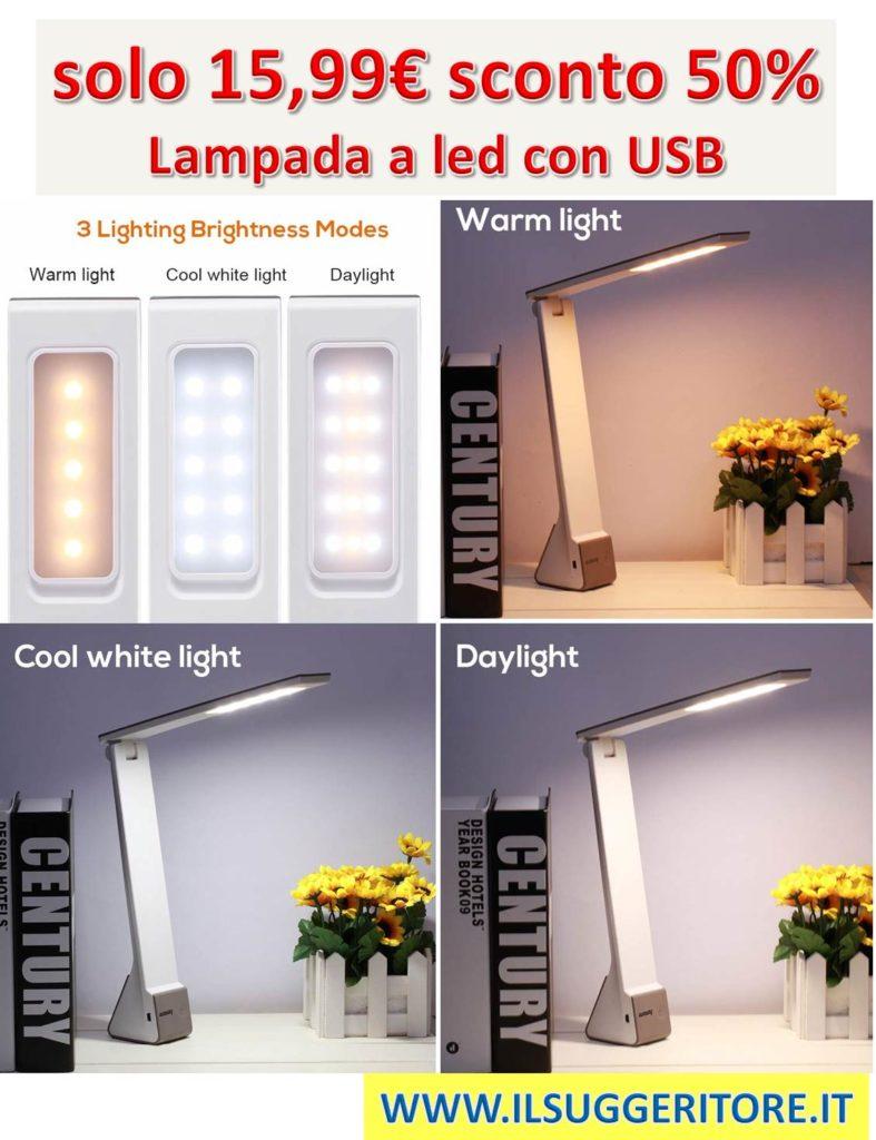 LED Lampada tavolo, AVAWAY, lampada USB per scrivania, da lettura, da lavoro, ufficio, 4W