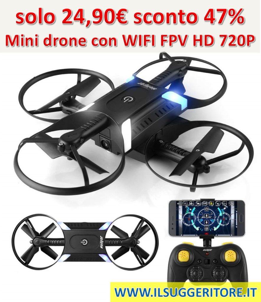 HELIFAR H816, drone con telecamera, Mini drone con WIFI FPV HD 720P APP, drone Pieghevole con Telecomando Doppia Leva, One-key-return e Altitude Hold, ideale regalo per bambini