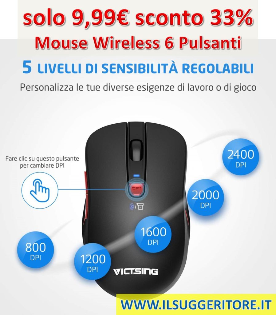 VicTsing, Mouse Bluetooth, Mouse Wireless - Bluetooth/USB - Dual Mode - 6 Pulsanti per PC, Tablet, e Notebook Windows Mac OS Laptop Xiaomi Huawei HP Lenovo. Nero