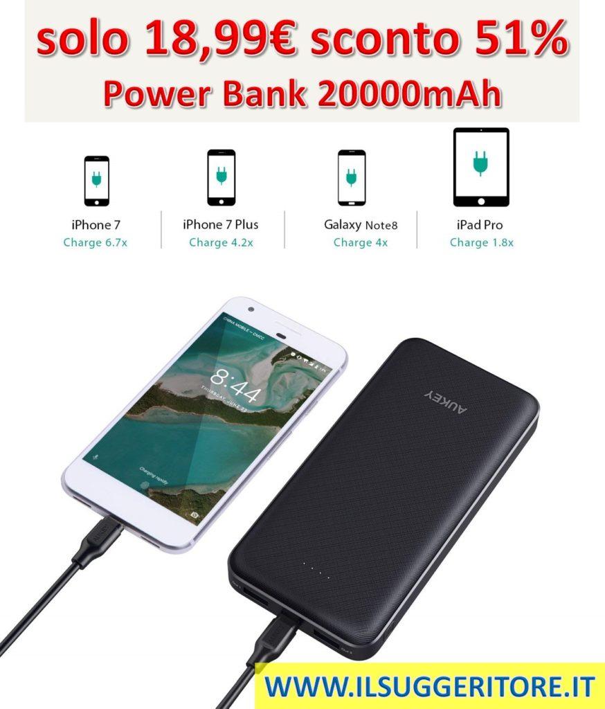 AUKEY, USB C Power Bank 20000mAh, Caricatore Portatile con 2 Porte per Google Pixel Nexus, iPhone X/ 8/ 7/ 7Plus/ 6s, Samsung S8/ S8+, iPad, Tablet ecc.