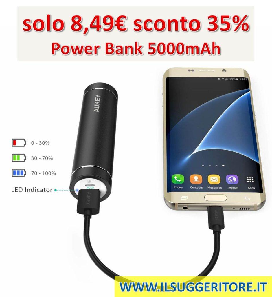 AUKEY Mini Power Bank 5000mAh, Batteria Portatile con Uscita 2A per iPhone 8/ Plus/ 7/ 6s, Samsung S8+/ S8, iPad ecc. (Nero)