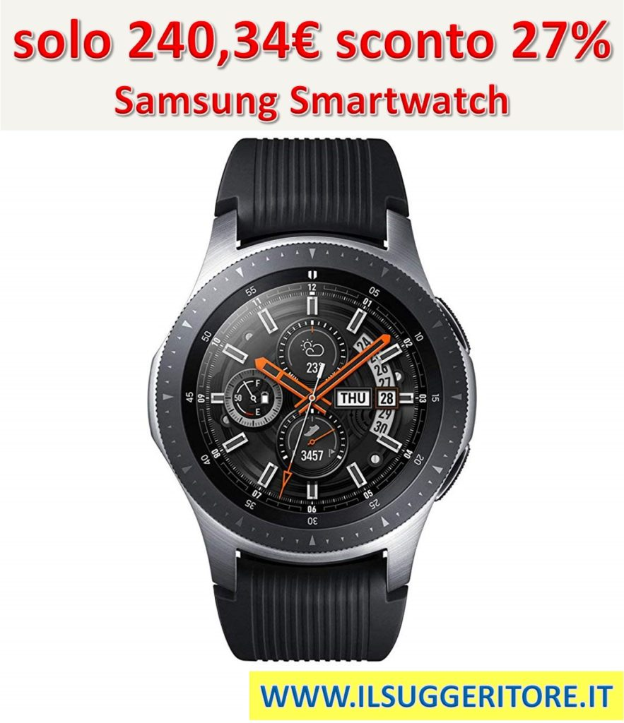 Samsung Galaxy Watch Smartwatch Android, Bluetooth, Fitness Tracker e GPS, Silver, 46 mm [Versione Italiana]