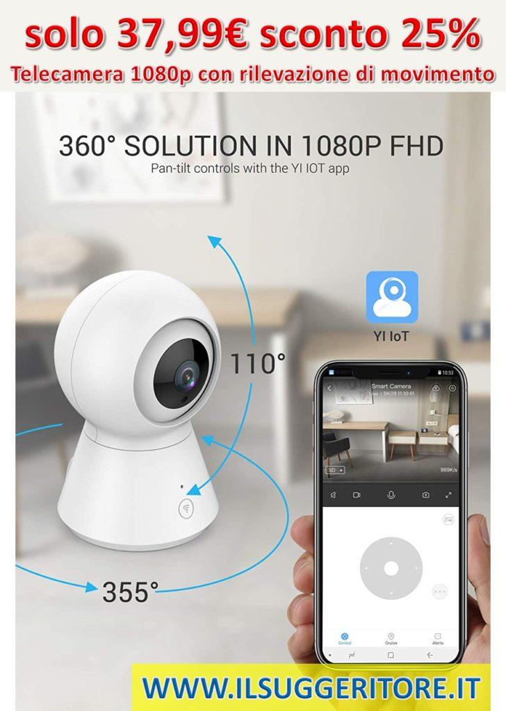 YI IOT YSJK2WHEU4 Telecamera a sfera 1080p con Wi-Fi, rilevazione di movimento, audio a 2 vie, visione notturna