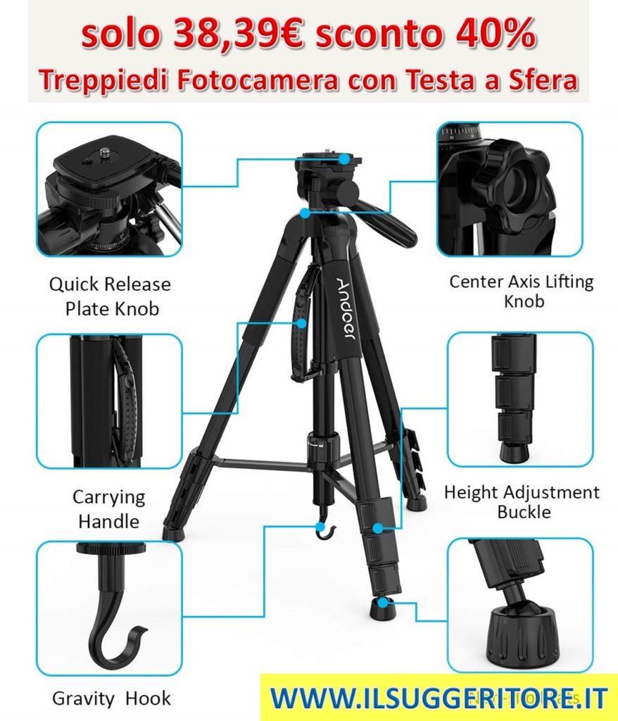 Treppiede Fotocamera Andoer, Treppiede reflex, Treppiedi Fotocamera con Testa a Sfera 4 sezioni Carico 4kg con borsa