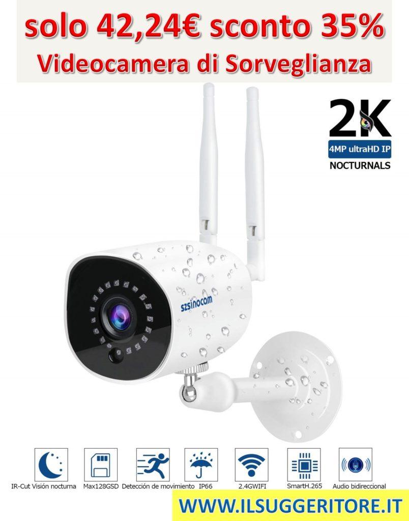 Videocamere  di Sorveglianza WIFI Esterno 1536P, SZSINOCAM Telecamera IP Camera 4MP  WIF Sistema CCTV visione notturna, Allarme push mobile,Audio a 2 vie,  IP66 Monitor Home/Baby,iOS/Android/PC,Cloud