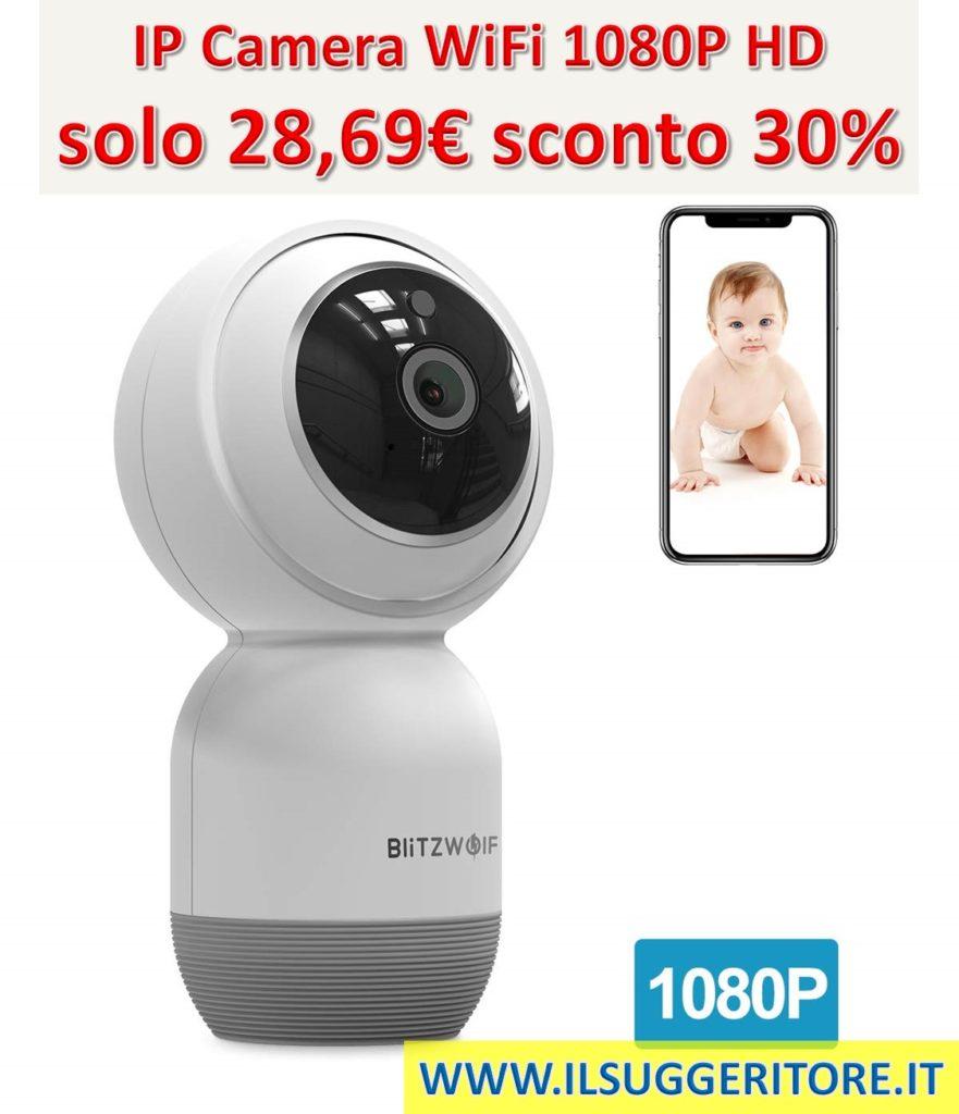 BlitzWolf IP Camera WiFi, 1080P HD Videocamera Sorveglianza Wireless, Audio Bidirezionale Rilevamento Movimento, Visione Notturna, Telecamera di Sicurezza per Animali, Domestici, Anziani, Casa Ufficio