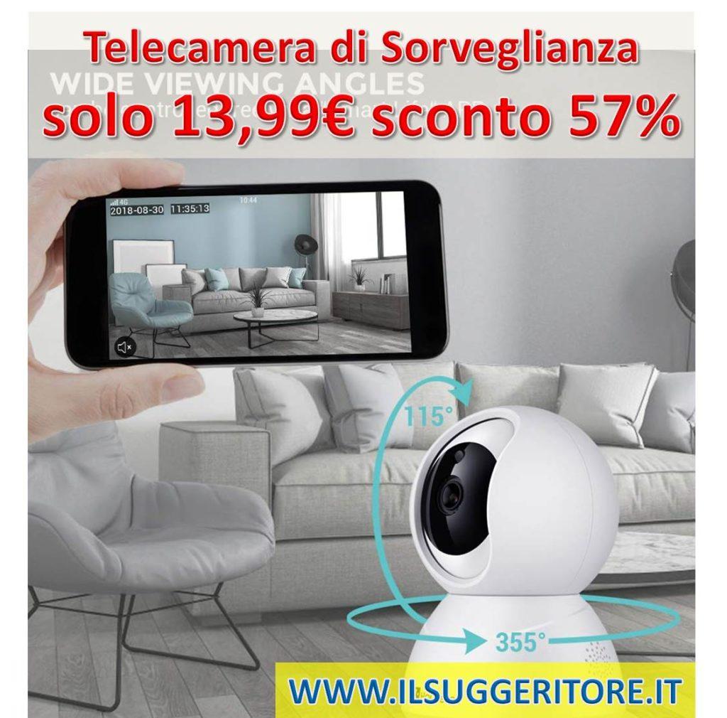 Telecamera di Sorveglianza, Houzetek 1080P HD IP, Camera Wifi Wireless, Videocamera di Sorveglianza con Visione Notturna a Infrarossi, Audio Bidirezionale, Controllo Remoto e allarme Email