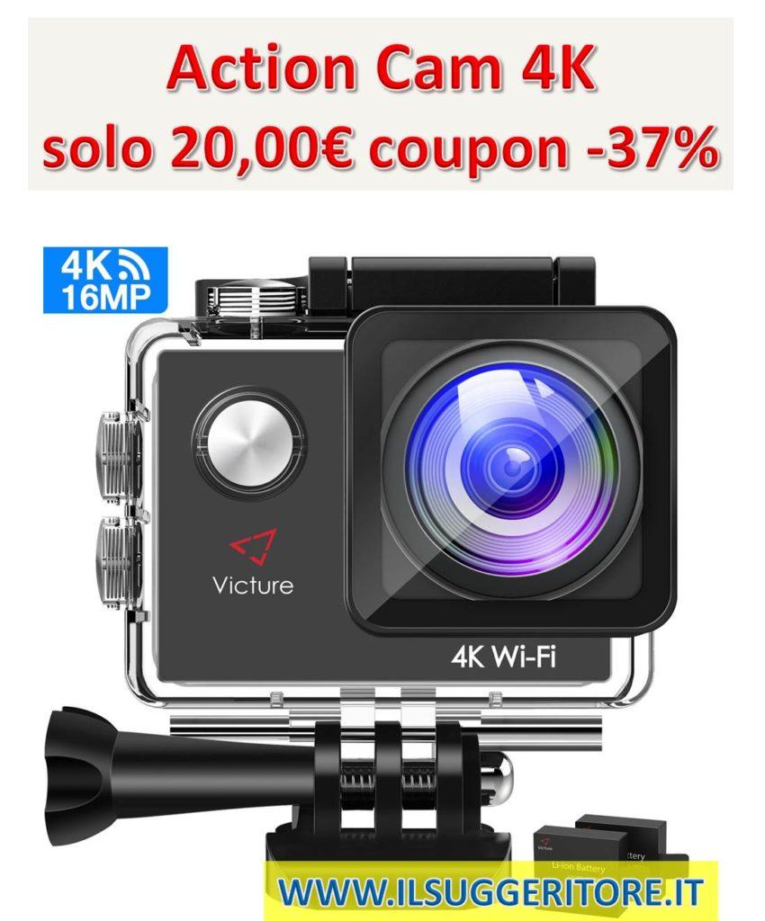 Victure, Action Cam 4K, Wifi fotocamera subacquea 16 MP, Ultra HD Sport Camera, impermeabile per moto, bicicletta, equitazione, con 2 batterie migliorate e kit di accessori gratuiti