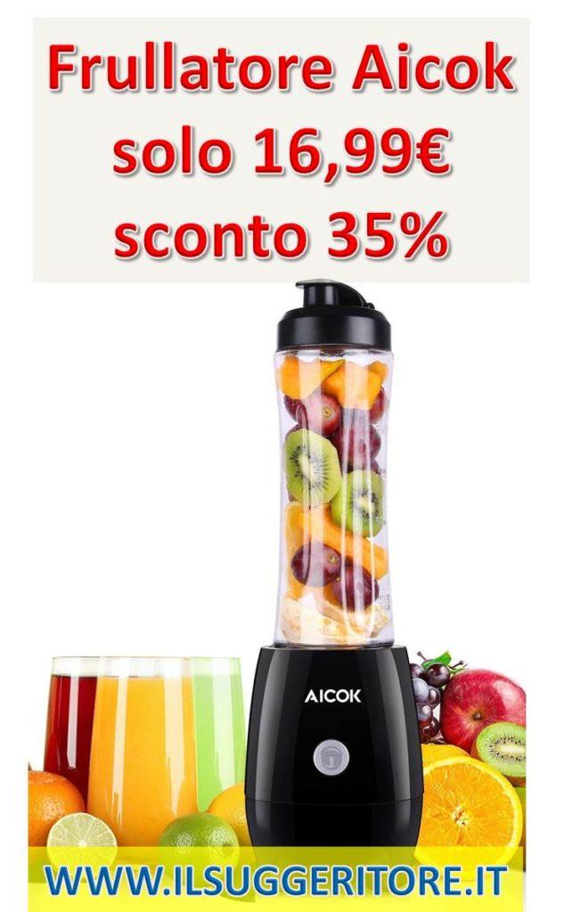 Aicok,  Frullatore, Personal Blender con flacone da 600 ml senza BPA, 4 lame in acciaio inox, Frullatore Smoothie,  Maker per frullati e succhi di frutta