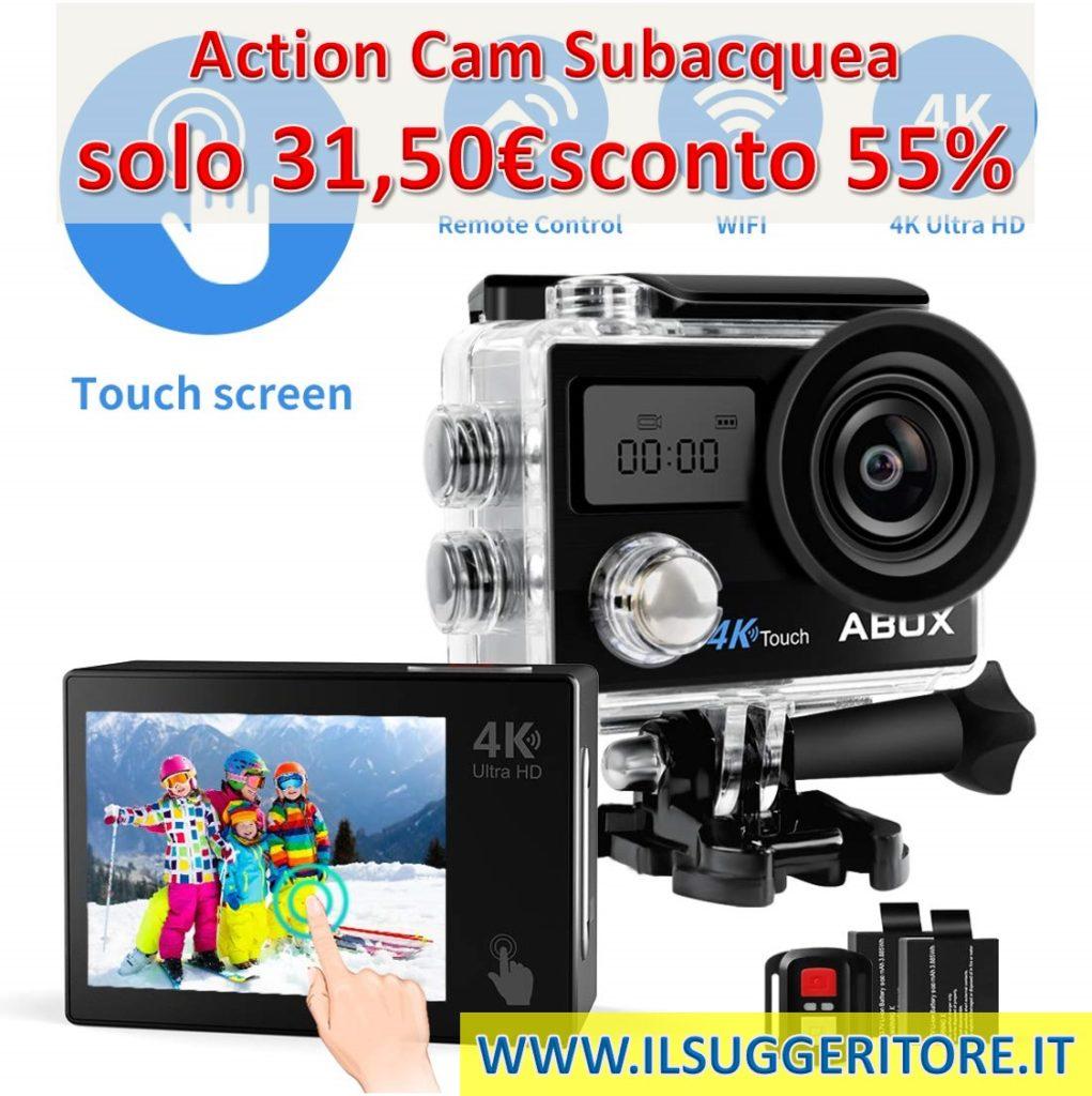 ABOX, Action Cam 4K WiFi 608TA, Sports Cam Touchschermo 16MP, Subacquea a 30m, 2 Batteria per Ricambio, con Accessori per Casco e Bici (Custodia, Telecomando, Supporto, Stabilizzatore, ECC).