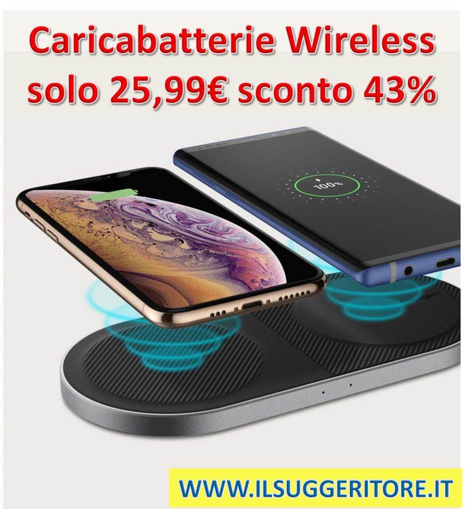 Spigen Essential F310W, Qi Certificato Doppio, 10W Ricarica, Caricabatterie Wireless Veloce, [Tecnologia IP], [Finitura PowerTurbine], [Alluminio Moderno], per iPhone 7.5W, Android 10W, [Alimentatore incluso]