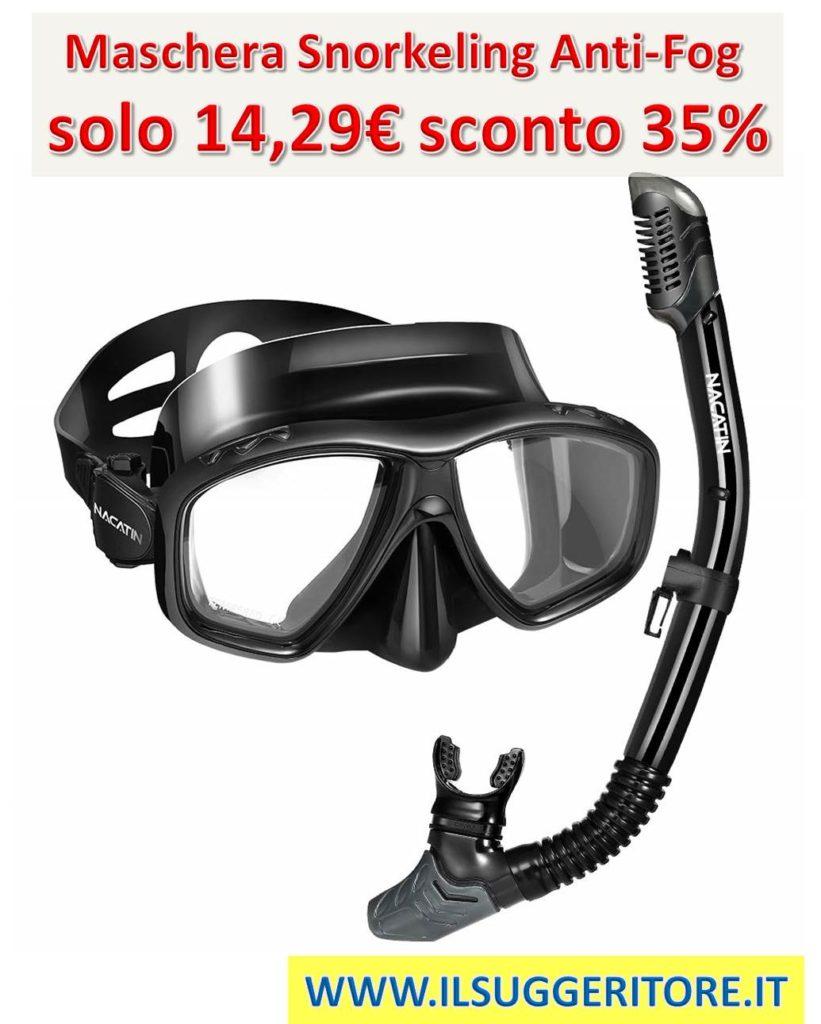 NACATIN,  Maschera Snorkeling, Anti-Fog Set, Snorkeling con Panoramica a 180 Gradi  e Boccaglio Snorkel per Adulti, Kit Snorkeling Professionale