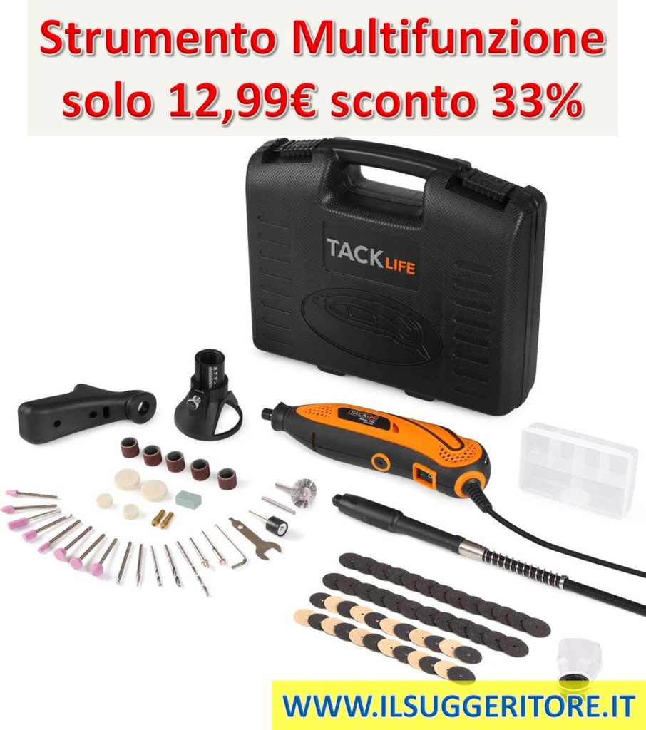Tacklife, RTD35ACL, Strumento Multifunzione, Utensile Rotante con 83 Accessori, Mini Drill con Velocita' Variabile per Incidere, Tagliare, Trapanare.