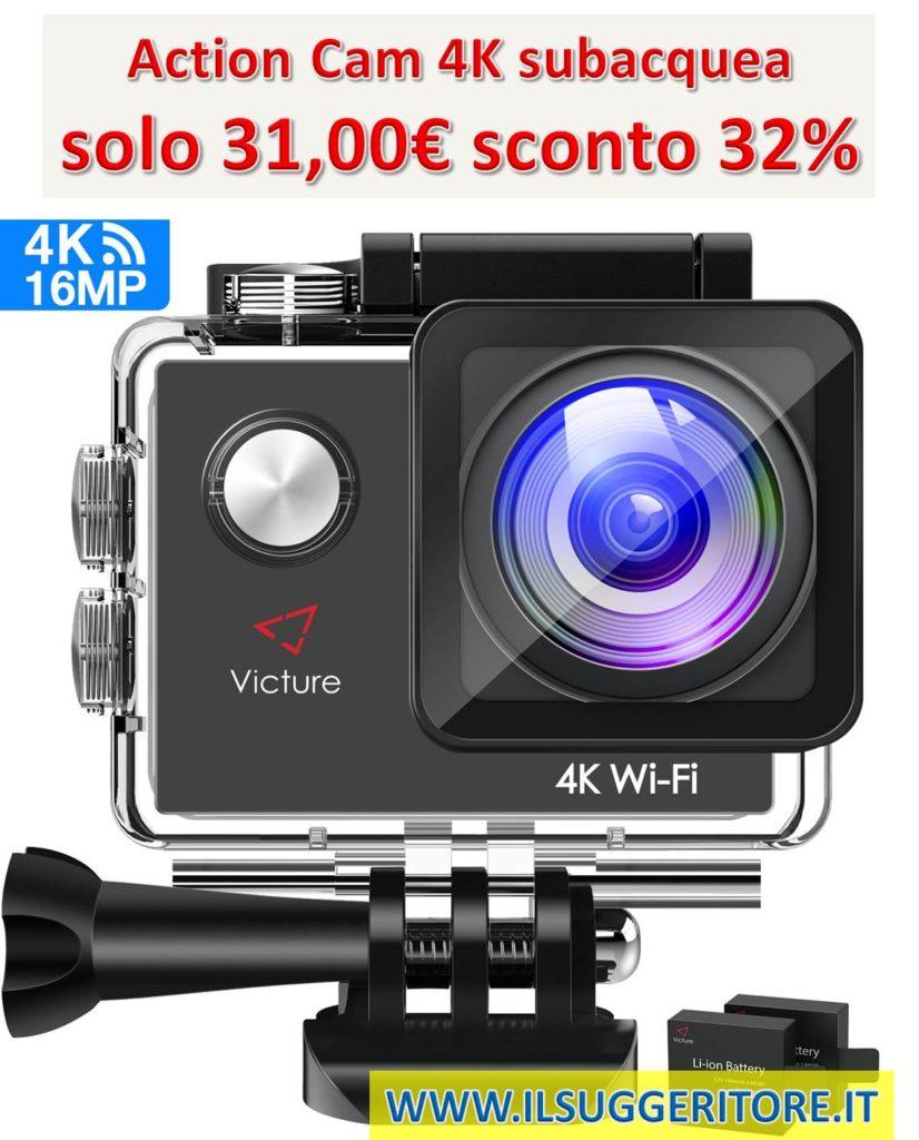Victure, Action Cam 4K, Wifi fotocamera subacquea 16 MP, Ultra HD, Sport Camera casco, impermeabile per moto, bicicletta equitazione, con 2 batterie migliorate e kit di accessori gratuiti