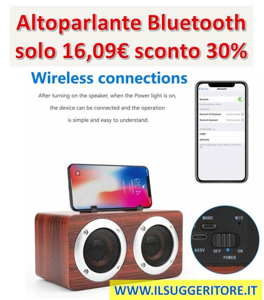 Altoparlante Bluetooth stereo Intbase Bass Sistema stereo, Altoparlanti portatili Sistemi audio surround, Legno, 2 Altoparlanti, con 8 ore di riproduzione, Supporto 6W TF Card AUX