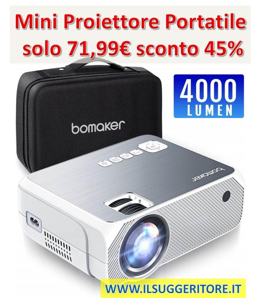 Proiettore, Mini Proiettore Portatile 4000 Lumen, BOMAKER LCD Videoproiettore Risoluzione Nativa 720p HD(Supporta 1080p) con Borsa Per Casa, Viaggio, Estero, Compatibile Cellulare/PS4/TV Box/ Micro SD
