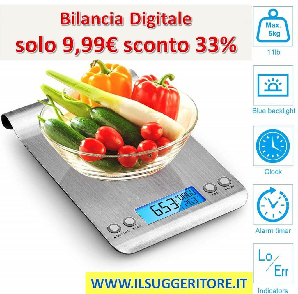 Bilancia da Cucina, 5Kg/1g Bilancia Elettronica Digitale, Alta Precisione Misurazione Display LCD, Multifunzione da Cucina e Acciaio Inossidabile, Usato Come Sveglia (2 Batterie Incluse) (Argento)