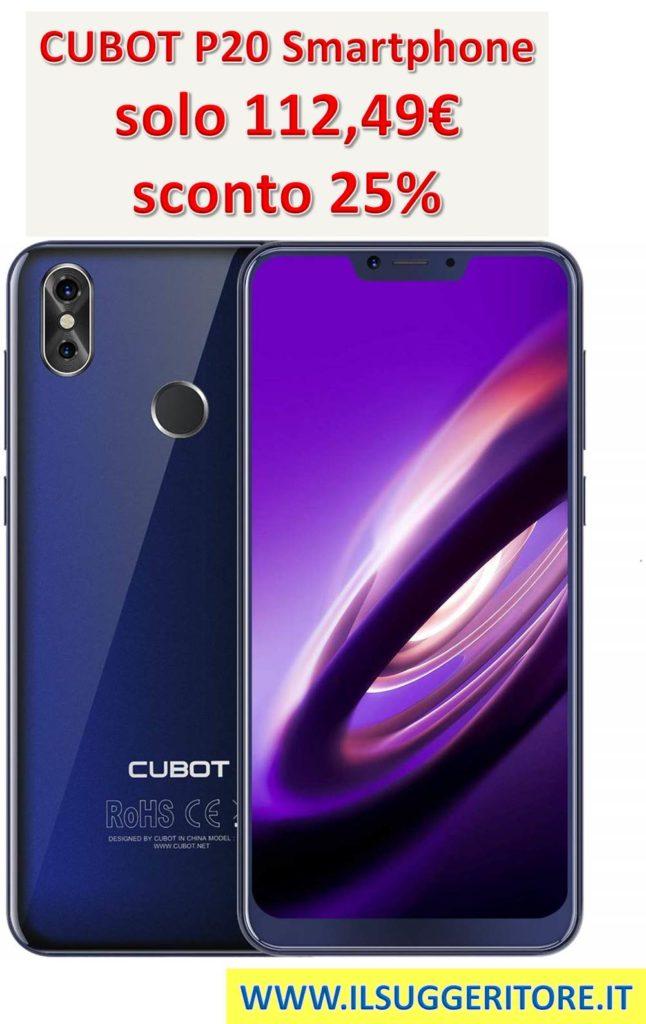 CUBOT P20, 6.18 Pollici FHD Smartphone, 2K Risoluzione, 4GB RAM 64GB ROM, Batteria 4000mAh, Supporto Impronte Digitali ID, Octa-Core, Dual SIM, 4G Cellulare Blu