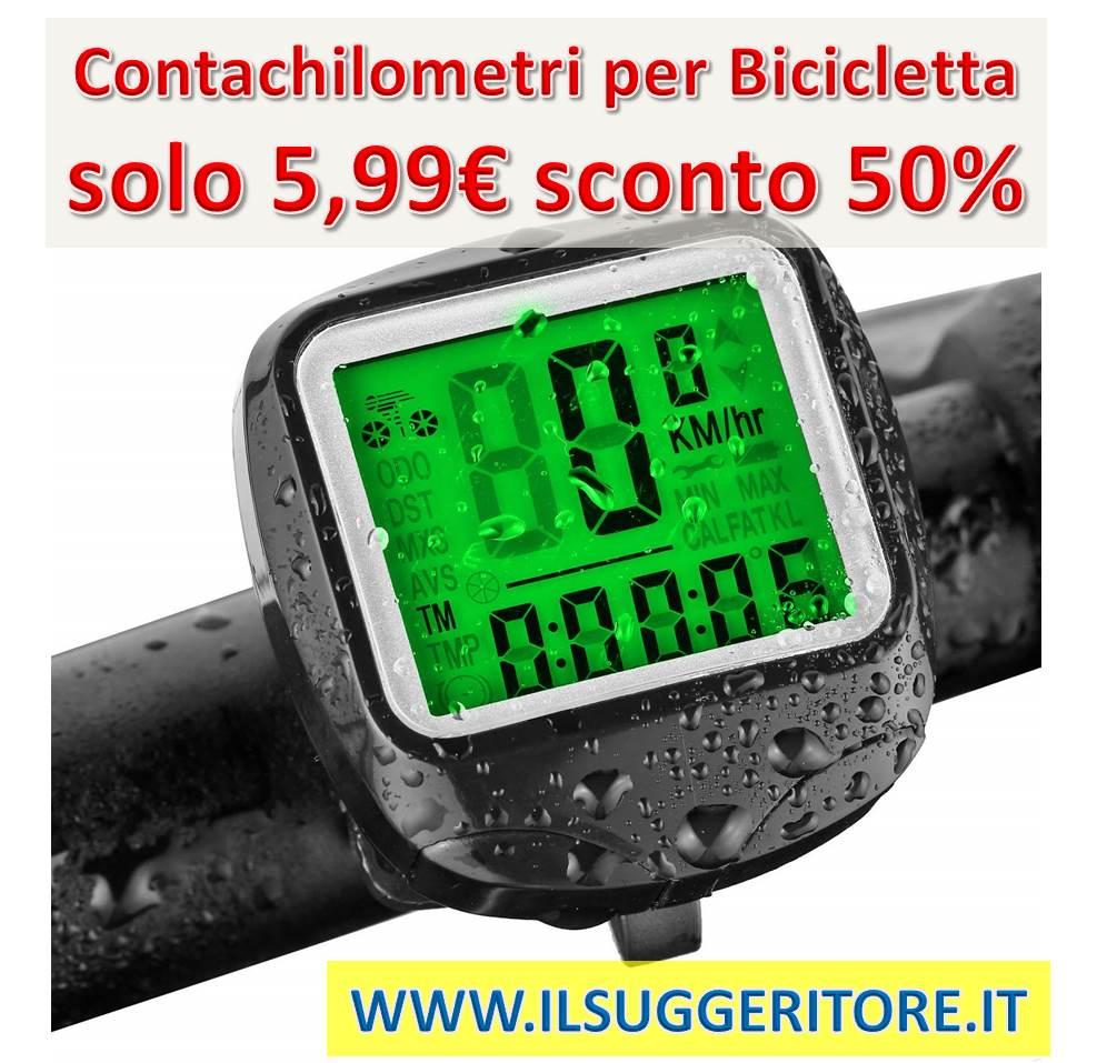 Computer di Bicicletta, FINIBO Contachilometri Bici, Ciclocomputer TACHO per Bicicletta, 23 funzioni, Impermeabile, LCD, velocità tachimetro con manuale italiano