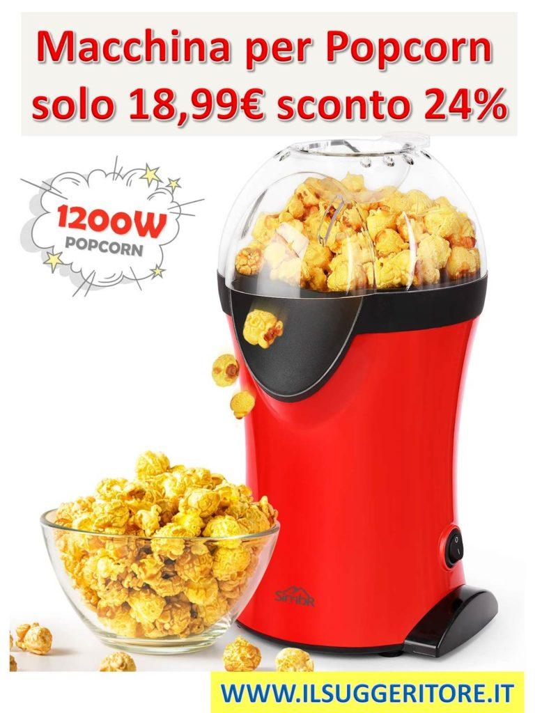 SIMBR, Macchina per Popcorn, Macchina Popcorn Compatta Automatica ad Aria Calda, Senza Grassi, Pentola Antiaderente, Coperchio Rimovibile,1200w