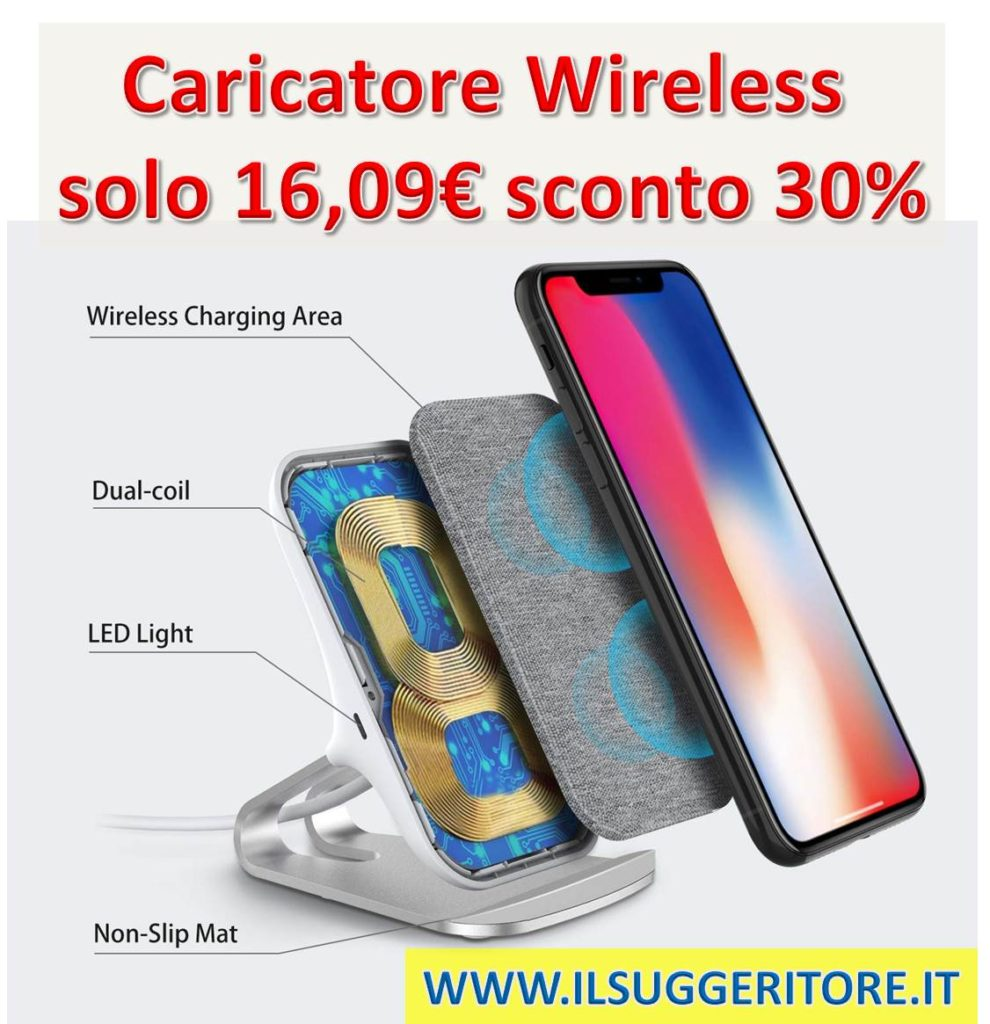 Lecone Caricatore Wireless con Tessuto, 10W/7.5W/5W Supporto di Ricarica Wireless Qi Compatibile con iPhone XR/XS Max/XS/X, Ricarica Rapida per Samsung Galaxy S10/S10+/S9/S9+/S8+/Nota 9 e Altro